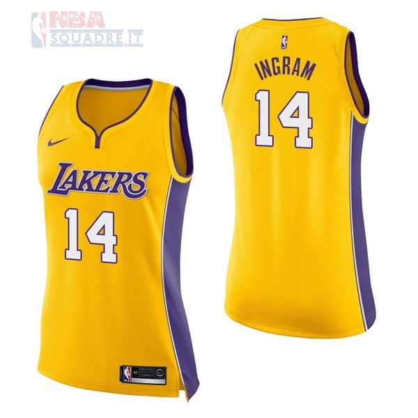 Maglia NBA Donna Los Angeles Lakers #14 Brandon Ingram Giallo Icon Di Buona Qualità