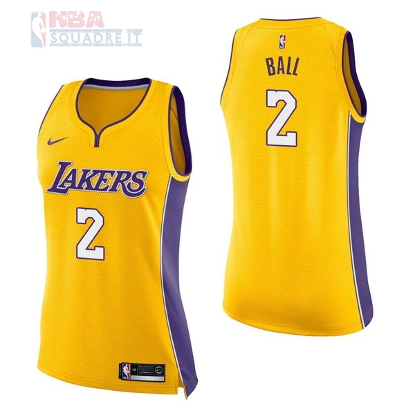 Maglia NBA Donna Los Angeles Lakers #2 Lonzo Ball Giallo Icon Di Buona Qualità