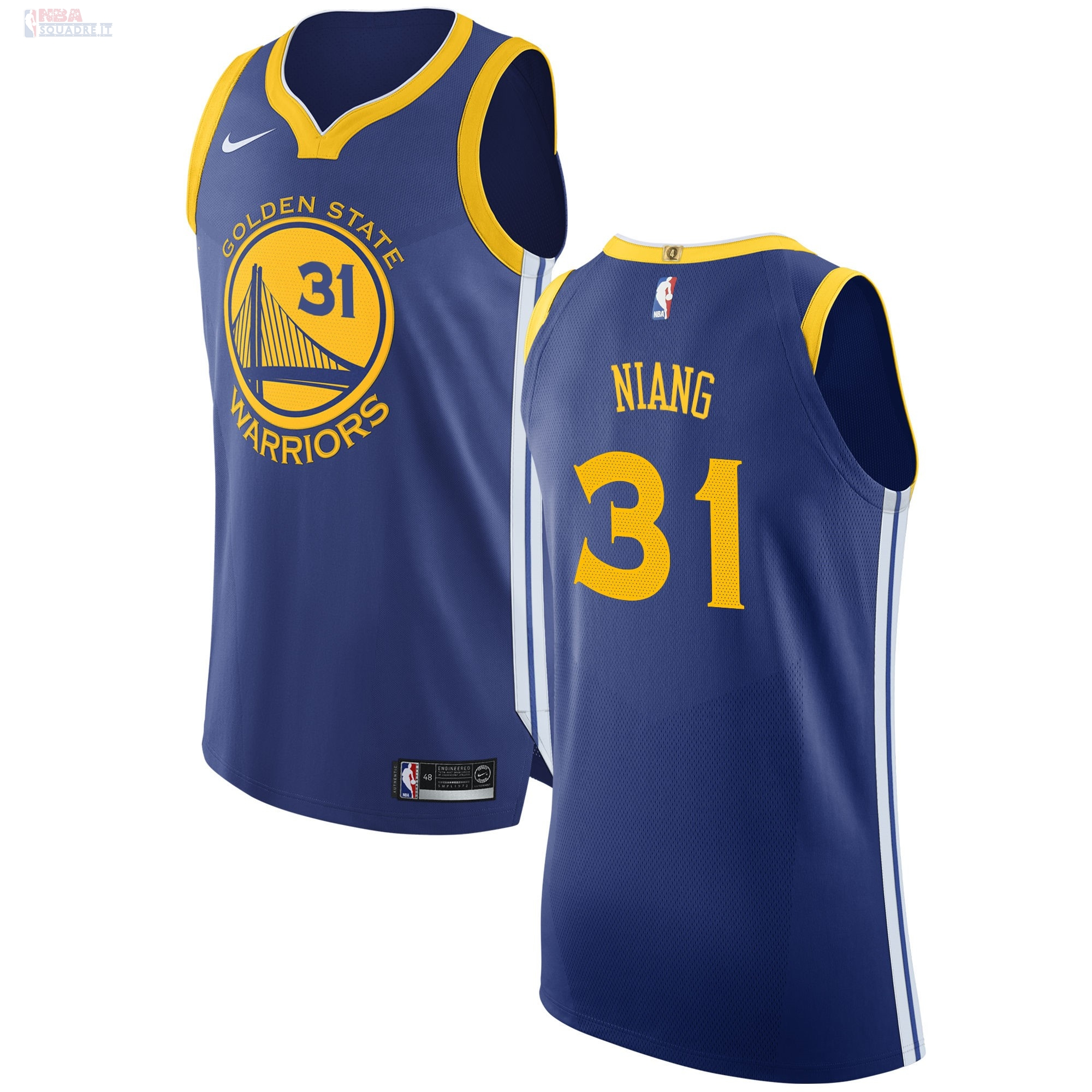 Maglia NBA Nike Golden State Warriors #31 Georges Niang Blu Icon Di Buona Qualità