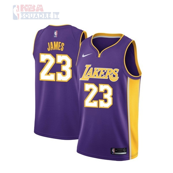 Maglia NBA Nike Los Angeles Lakers #23 Lebron James Purpura Statement Di Buona Qualità