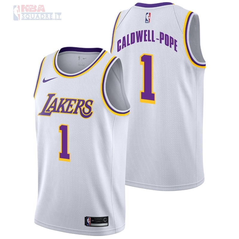 Maglia NBA Nike Los Angeles Lakers #1 Kentavious Caldwell Pope Bianco Association 2018-19 Di Buona Qualità
