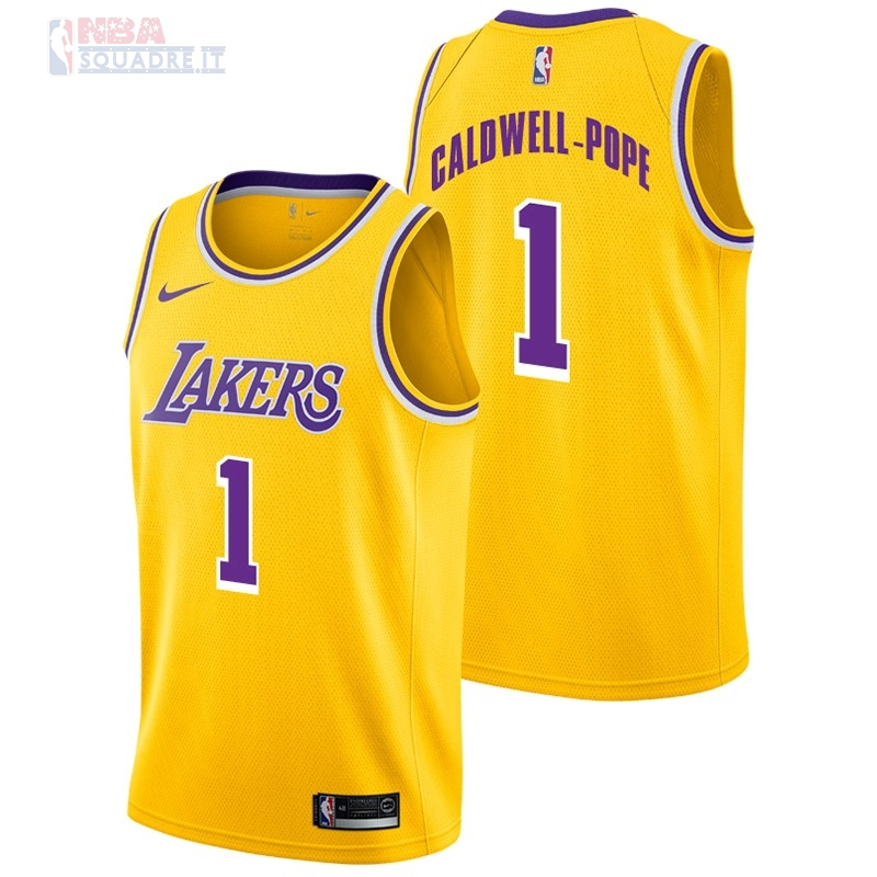 Maglia NBA Nike Los Angeles Lakers #1 Kentavious Caldwell Pope Giallo Icon 2018-19 Di Buona Qualità