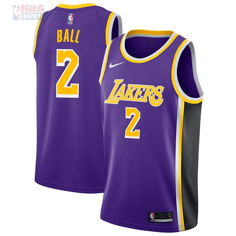 Maglia NBA Nike Los Angeles Lakers #2 Lonzo Ball Porpora Statement 2018-19 Di Buona Qualità