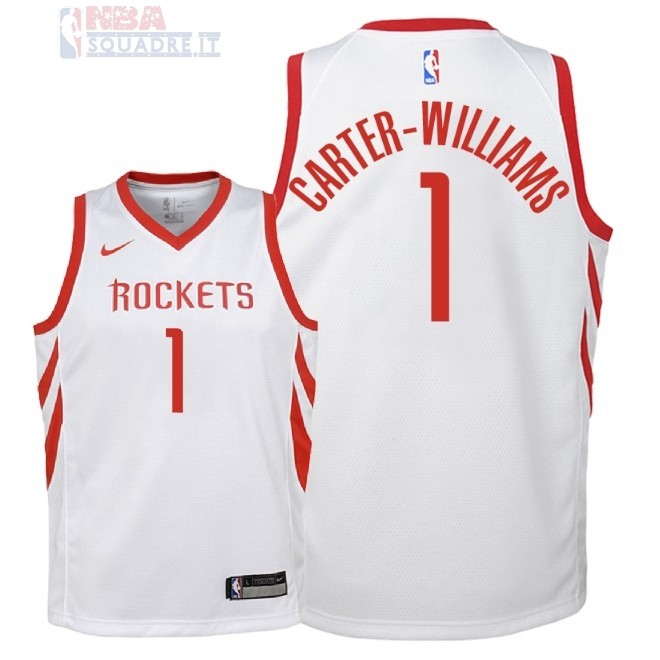 Maglia NBA Bambino Houston Rockets #1 Michael Carter Williams Bianco Association 2018 Di Buona Qualità