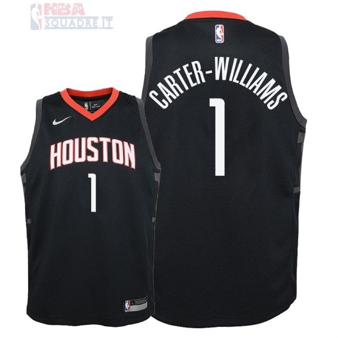 Maglia NBA Bambino Houston Rockets #1 Michael Carter Williams Nero Statement 2018 Di Buona Qualità