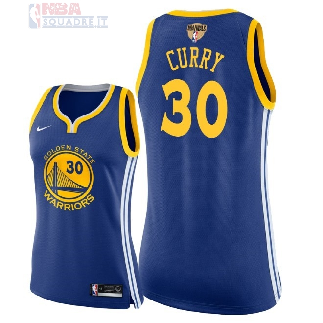 Maglia NBA Donna Golden State Warriors 2018 Campionato Finali #30 Stephen Curry Blu Icon Patch Di Buona Qualità