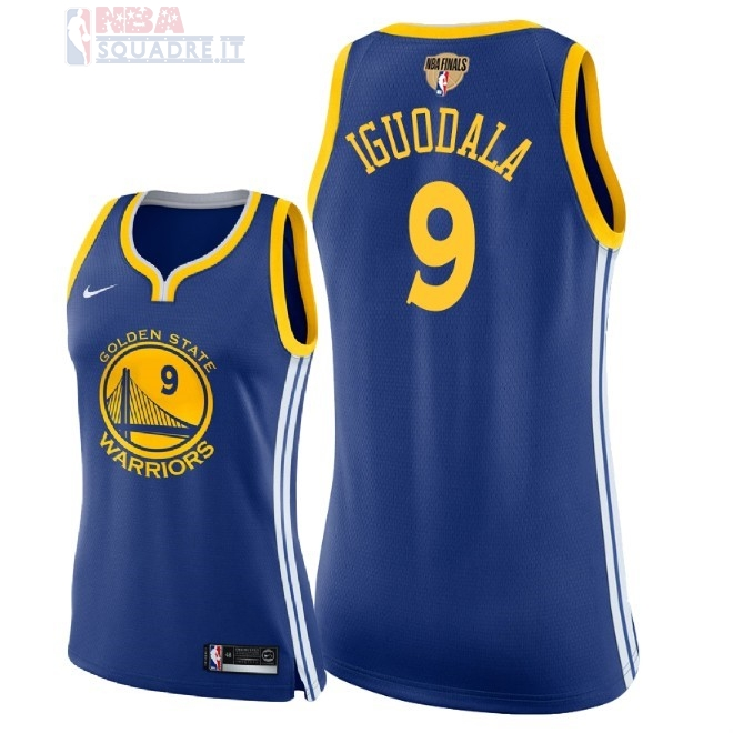 Maglia NBA Donna Golden State Warriors 2018 Campionato Finali #9 Andre Iguodala Blu Icon Patch Di Buona Qualità