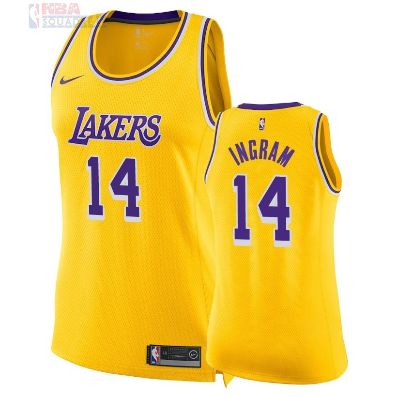 Maglia NBA Donna Los Angeles Lakers #14 Brandon Ingram Giallo Icon 2018-19 Di Buona Qualità