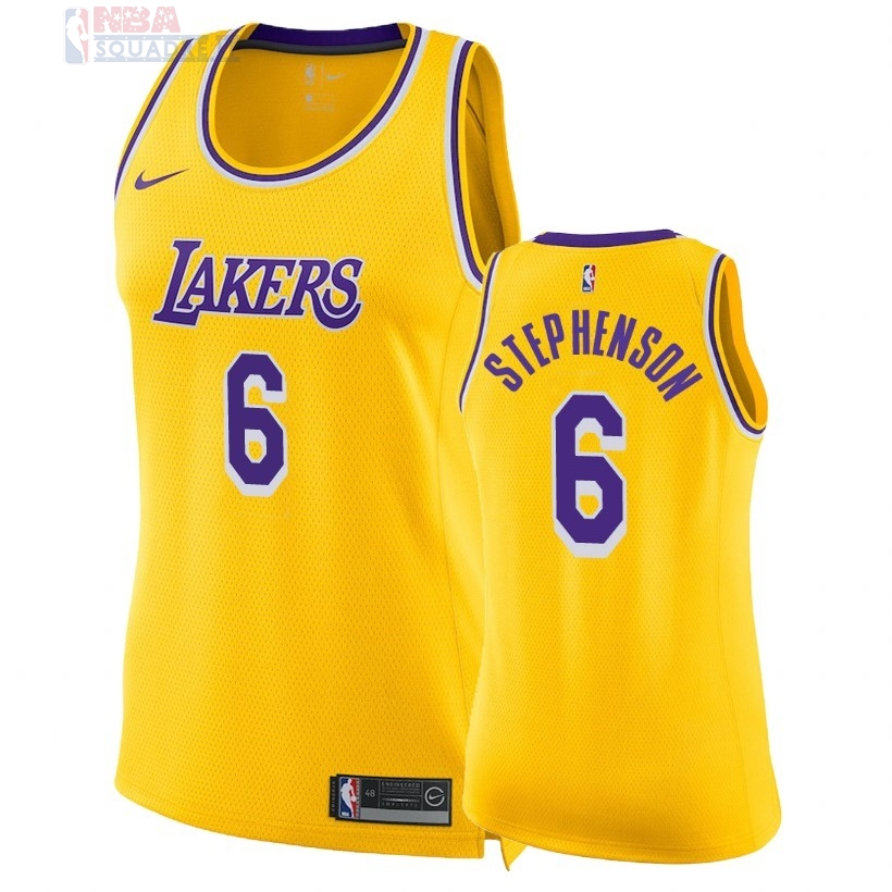 Maglia NBA Donna Los Angeles Lakers #6 Lance Stephenson Giallo Icon 2018-19 Di Buona Qualità