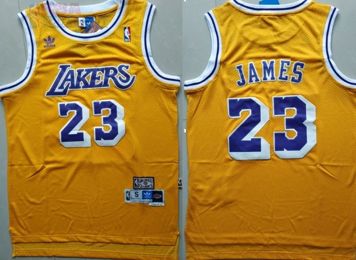 Maglia NBA Los Angeles Lakers #23 Lebron James Retro Giallo Di Buona Qualità