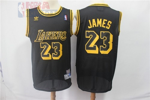 Maglia NBA Los Angeles Lakers #23 Lebron James Retro Nero Di Buona Qualità