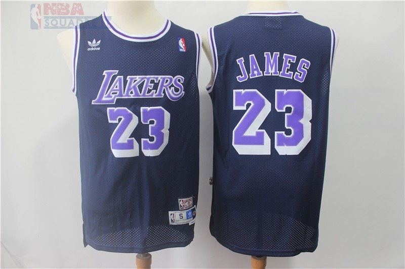 Maglia NBA Los Angeles Lakers #23 Lebron James Retro Nero Porpora Di Buona Qualità