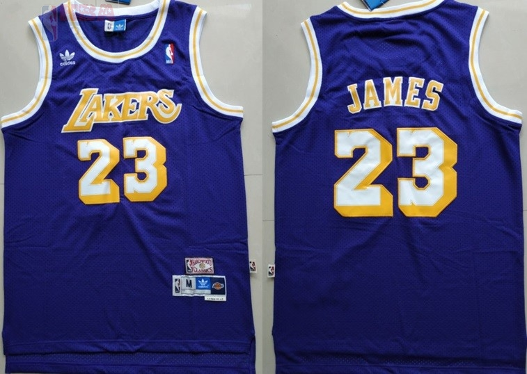 Maglia NBA Los Angeles Lakers #23 Lebron James Retro Porpora Di Buona Qualità
