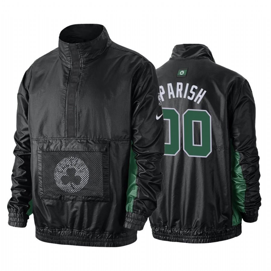 Giacca NBA Boston Celtics #00 Robert Parish Nero Di Buona Qualità