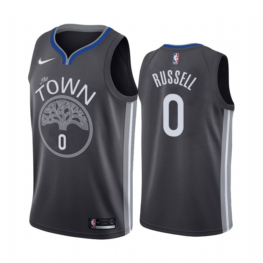 Maglia NBA Nike Golden State Warriors #0 D'Angelo Russell Nero Statement 2019-20 Di Buona Qualità
