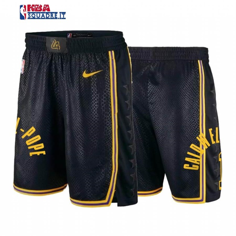 Pantaloni Basket Los Angeles Lakers #1 Kentavious Caldwell Pope Black Mamba Di Buona Qualità