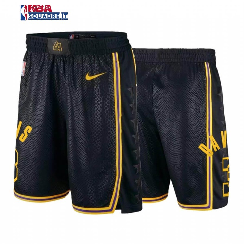 Pantaloni Basket Los Angeles Lakers #3 Anthony Davis Black Mamba Di Buona Qualità