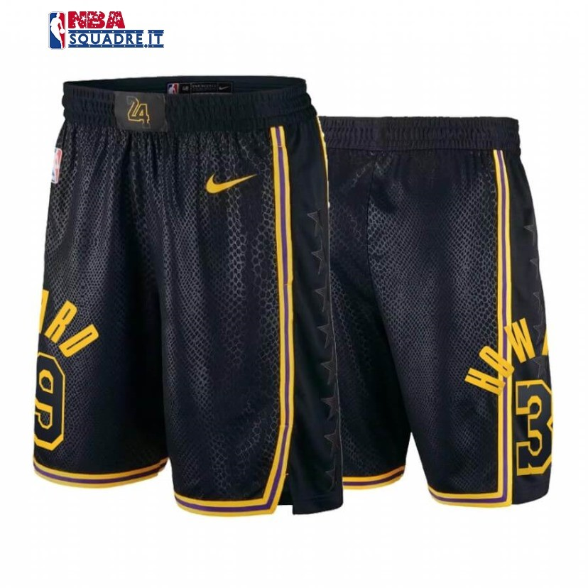 Pantaloni Basket Los Angeles Lakers #39 Dwight Howard Black Mamba Di Buona Qualità